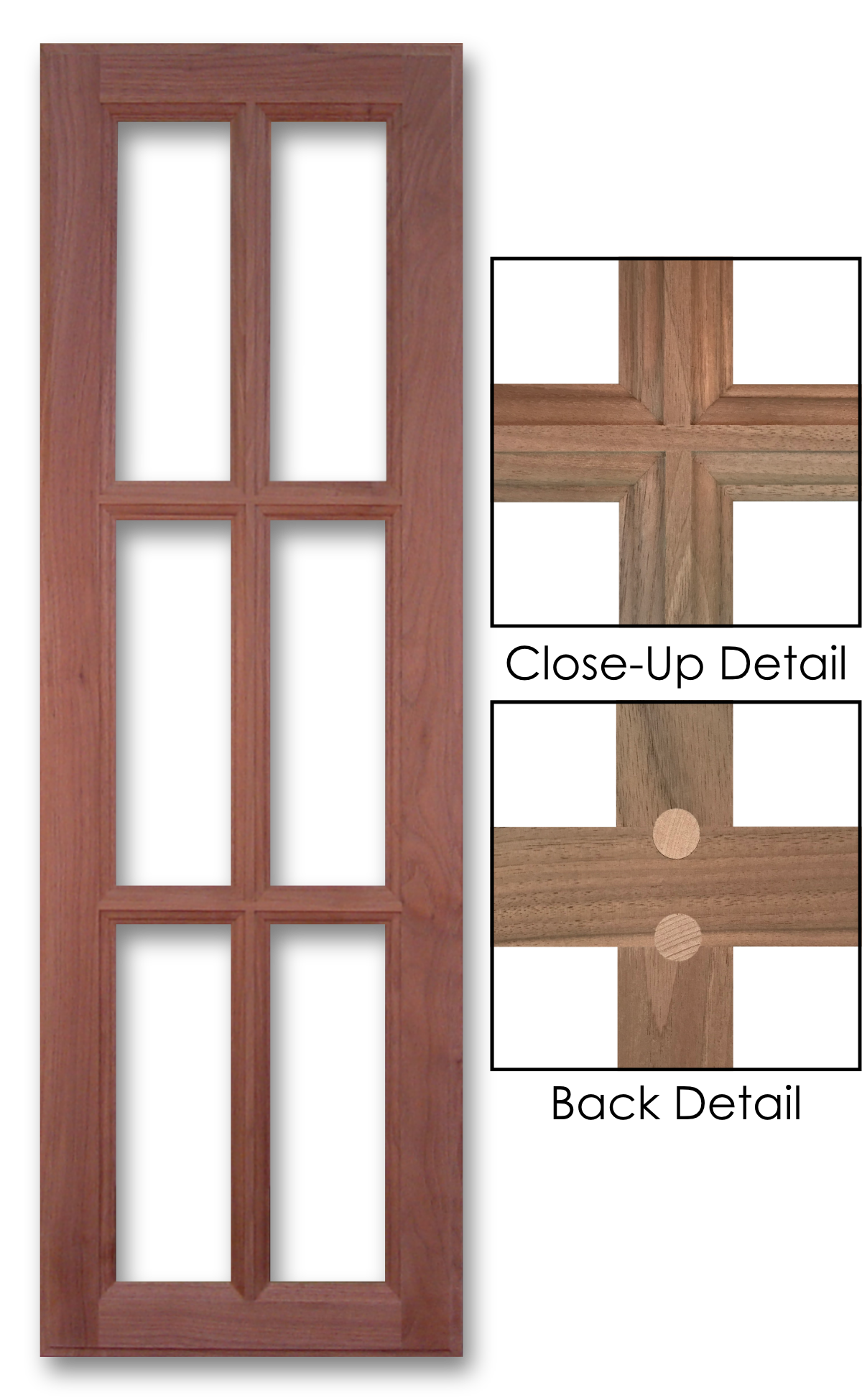 700 Black Walnut Mullion Grid + Close-Up Details Front u0026 Back  sc 1 st  Scherru0027s & Open Frame Doors u0026 Mullion Grids